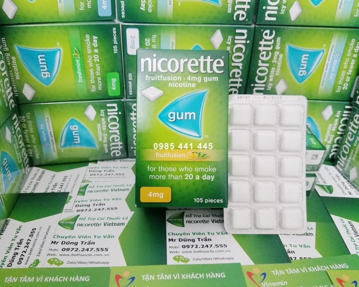 Nicorette gum 4mg vị trái cây