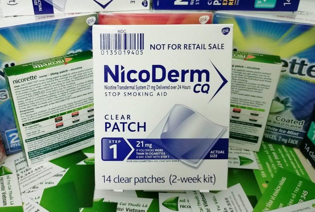 Miếng dán cai thuốc lá Nicoderm 21mg hộp 14 miếng