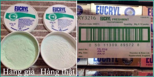 Phân biệt hàng thật giả bột trắng răng của Anh Eucryl