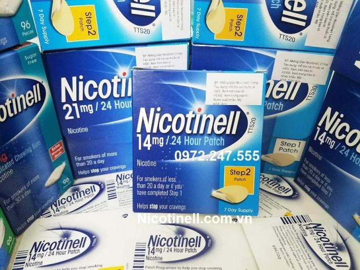 miếng dán Nicotinell 14mg Step 2 cai thuốc nhanh gấp 5 lần
